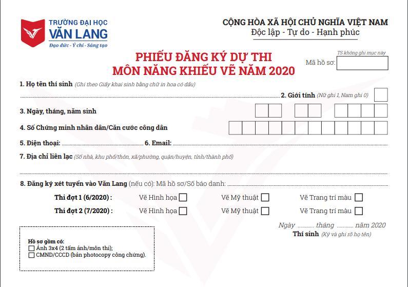 Mẫu phiếu đăng ký dự thi môn năng khiếu Vẽ năm 2020 của Trường Đại học Văn Lang